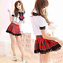 School Girl Red Check Pattern Black Lace Sexy Uniform (3 Pieces)